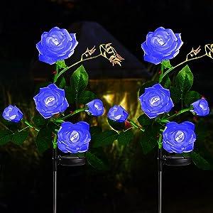 Solar Lights Outdoor Rose Flower, 2 Pack Solar Powered Garden Decorations with 10 Bigger Rose Flower, WaterproofLights for Garden Patio Yard Pathway Decoration (Blue Rose)