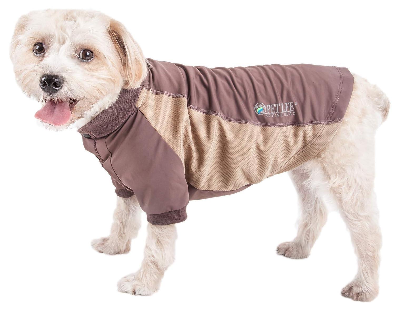 Brown Medium Brown Medium Pet Life 'Barko Pawlo' Relax-Stretch Wick-Proof Performance Dog Polo T-Shirt, Medium, Brown
