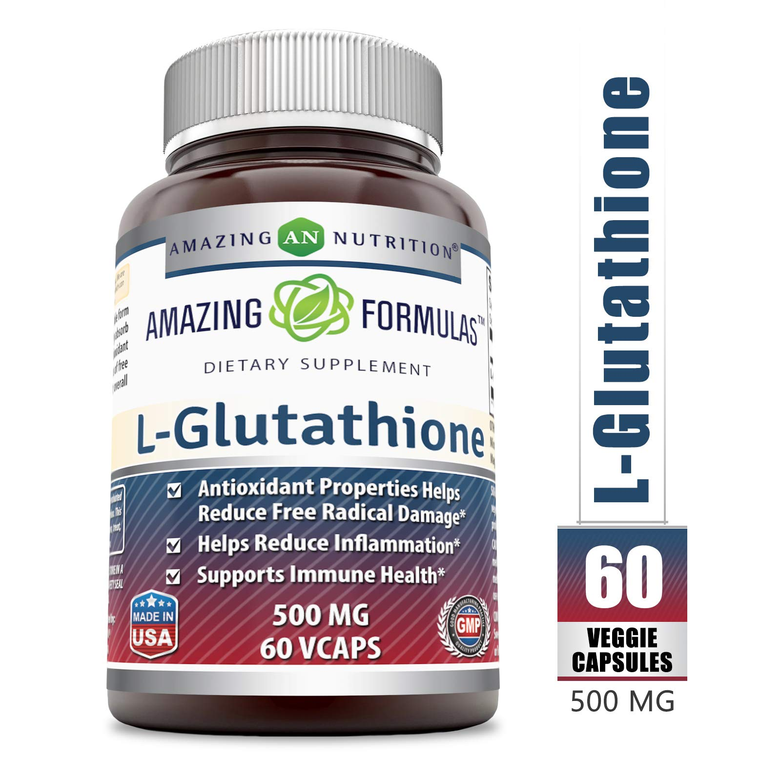 Amazing Formulas Reduced L-Glutathione - 500 Mg, 60 Veggie Capsules - Antioxidant Properties Helps Reduce Free Radical Damage - Helps Reduce Inflammation - Supports Immune Health.