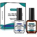 Morovan Nail Prep Dehydrator and Acid-Free Primer Superior Bonding 0.5 oz for Gel Nail Polish and acrylic powder Fast Dry Nai