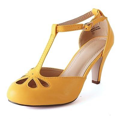 Guilty Heart Womens T-Strap Ankle Strap Retro Pump - Cut Out Comfortable Ankle Buckle Shoe Pump: Shoes
