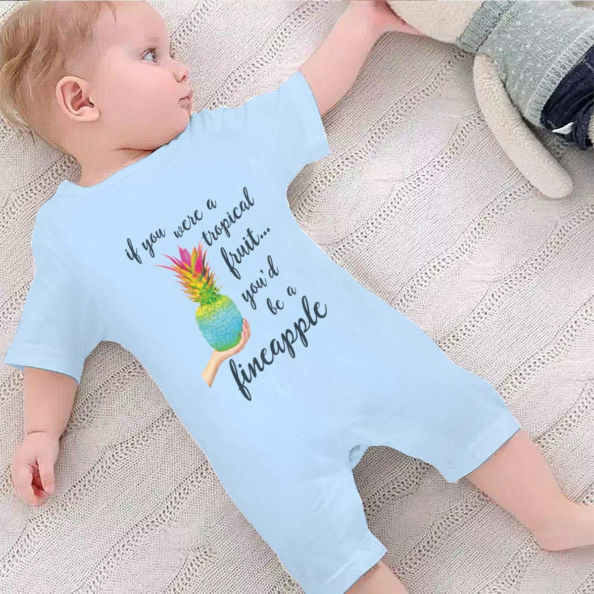 YINGFG Baby Boys Girls Short Sleeve Jumpsuit Be A Pineapple Cotton Romper