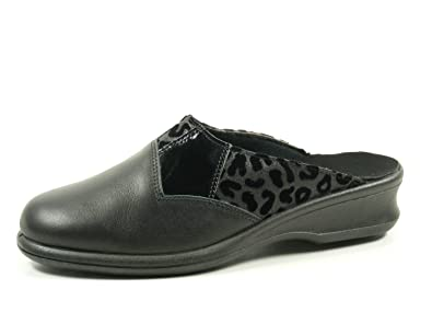 Rohde 2504 Farun Damen Hausschuhe Pantoffeln Weite F 1/2, Schuhgröße:37.5;Farbe:Schwarz