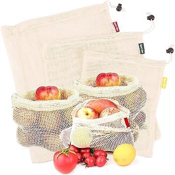 Spartas Store Bolsas de vegetales reutilizables de algodón, bolsas de frutas y vegetales, bolsas de malla transpirables, 3 piezas (1L, 1M, 1S): Amazon.es: Juguetes y juegos