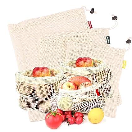 Spartas Store Bolsas de vegetales reutilizables de algodón, bolsas de frutas y vegetales, bolsas de malla transpirables, 3 piezas (1L, 1M, 1S)