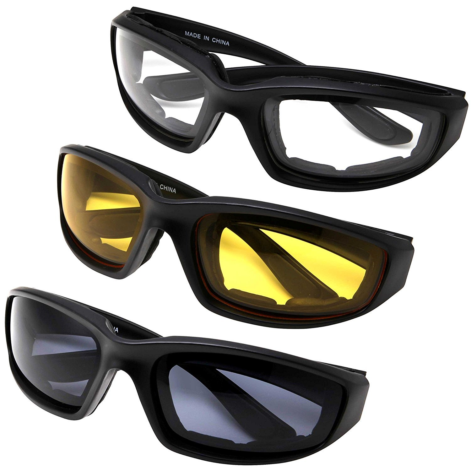 All Weather Protective Motorcycle Riding Goggle Glasses 3 Pack Set (Assortment Pack)