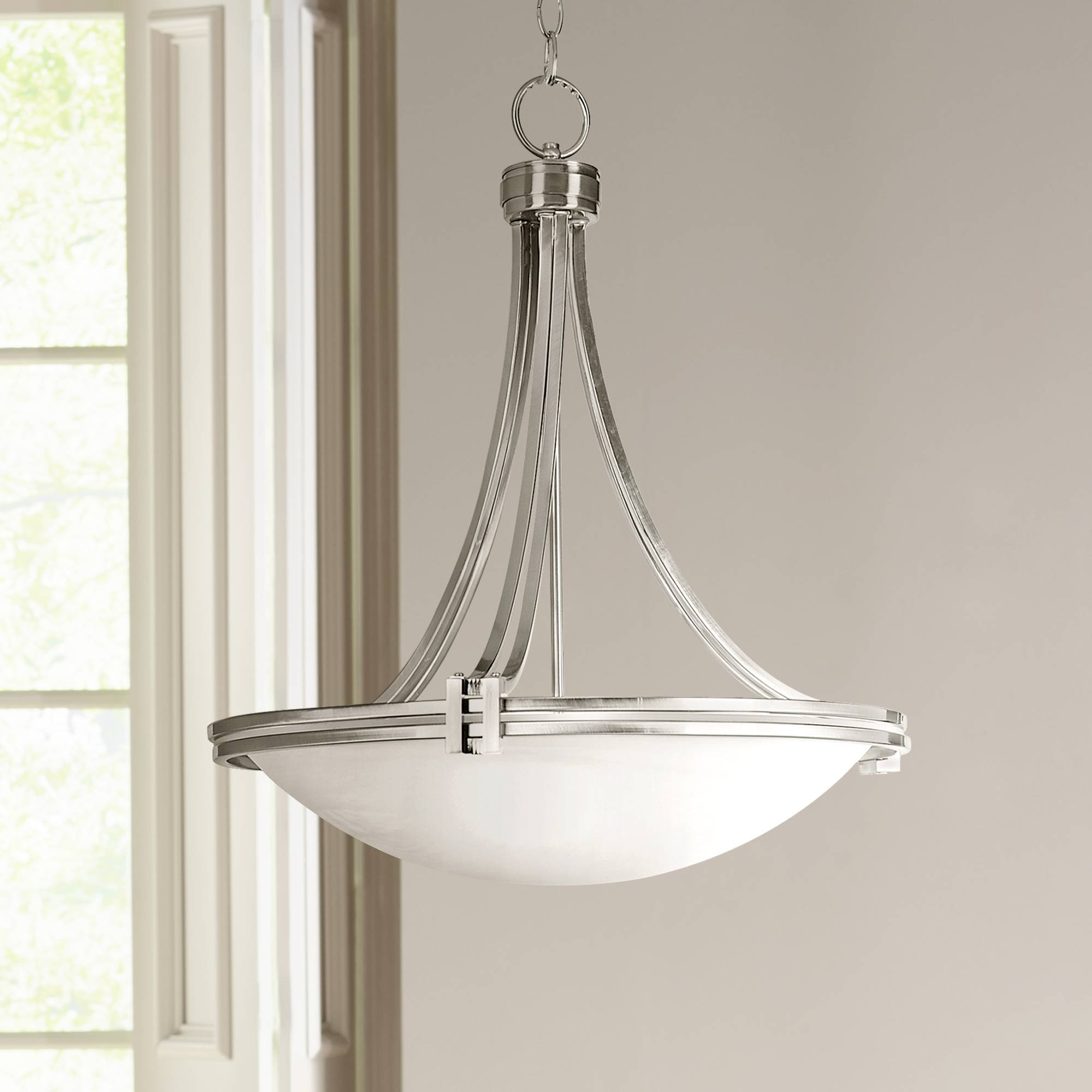 Deco Brushed Nickel Pendant Light 21 1/2'' Wide Marbleized Glass Fixture for Kitchen Dining Room Lighting - Possini Euro Design