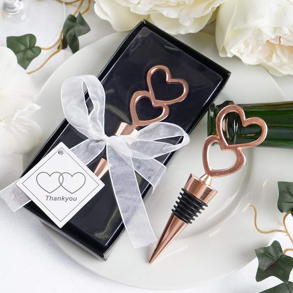 Tableclothsfactory Rose Gold Metal Double Heart Wine Bottle Stopper Wedding Favor With Velvet Gift Box - Lot of 25