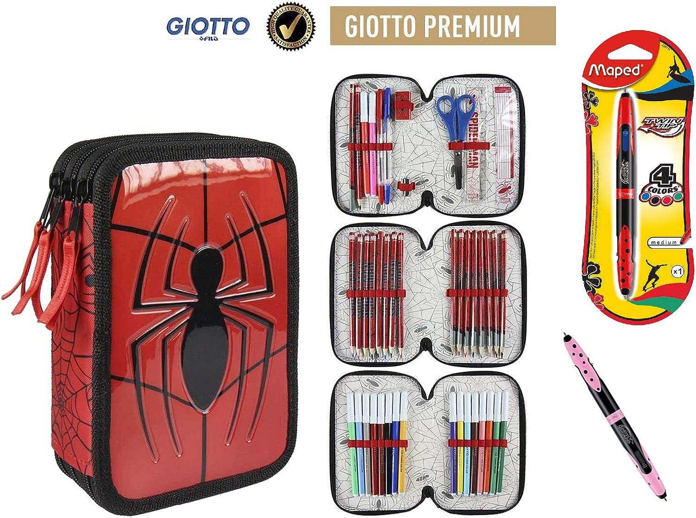 Plumier Estuche Premium de Cremallera Triple 3 Pisos Spiderman Marvel - 43 Piezas Contenido Giotto + Regalo 12 Ceras Alpino Plastialpino: Amazon.es: Juguetes y juegos
