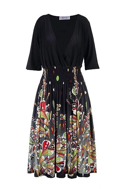 Beauty7 ES 40 Seda de Leche Suave y Confortable Florales Colores Gran Vestidos Mujer Atada a