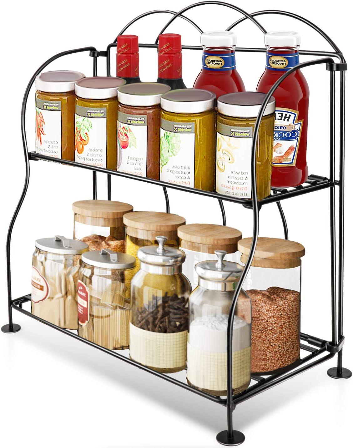 Spice Rack Organizer,2-Tier Foldable Standing Storage Organizer, Kitchen Bathroom Office Countertops Shelf Spice Jar Bottle Holder -Black