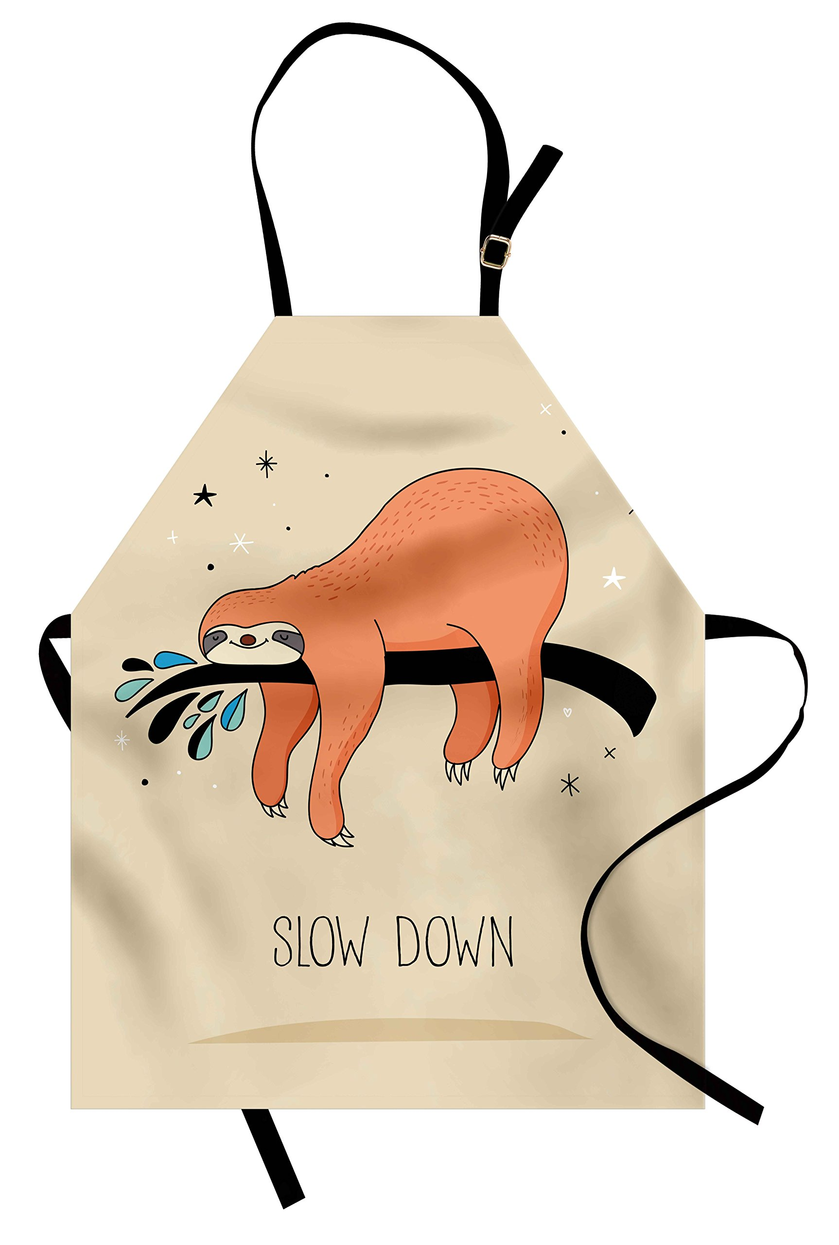 Ambesonne Animal Apron, Sleeping Big Bear and Sloth Hanging on a Bench Cozy Lazy Wild Creature Image Print, Unisex Kitchen Bib Apron with Adjustable Neck for Cooking Baking Gardening, Multicolor