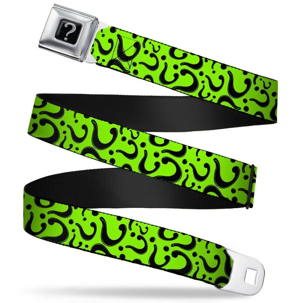 Buckle-Down Seatbelt Belt - Question Mark Scattered Lime Green/Black - 1.5'' Wide - 32-52 Inches in Length