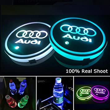 AutoDIY Led Car Logo Cup Lights up Holder USB Charging Waterproof Bottle Drinks pad 7 Colors Changing Atmosphere Lamp mat Cars for Luminous Coasters 2PCS Fit Toyota