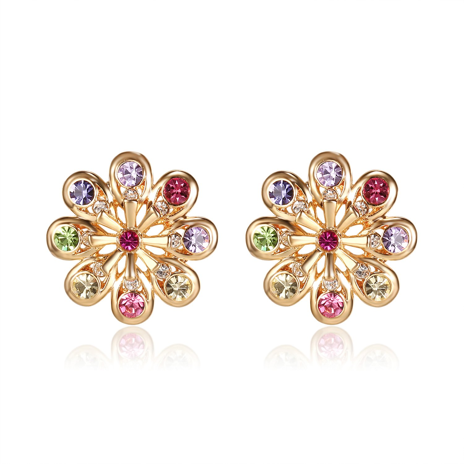Lee Island Fashion Jewelry 18K Gold Plated Austrian Crystal Flower Stud Shape Earrings Woman Girl Gift-Gift Packing (Multicolor)