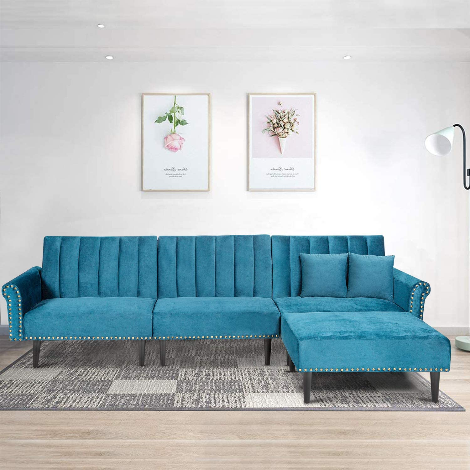 Recaceik Convertible Sectional Sofa, Modern Velvet Fabric Classic Upholstered Couches 4-Seater with Super Soft Cushion Futon Sofa Bed for Living Room(Light Blue)