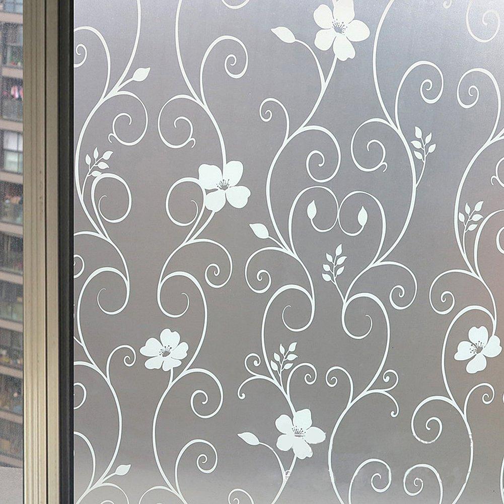 (ハッピーライフ)Happylifeガラスフィルム 白はな 目隠し 窓用 ガラスドア用 浴室用 幅90cm×長さ500cmcm 2650-3 B01LS0V5ZY90cm×500cm