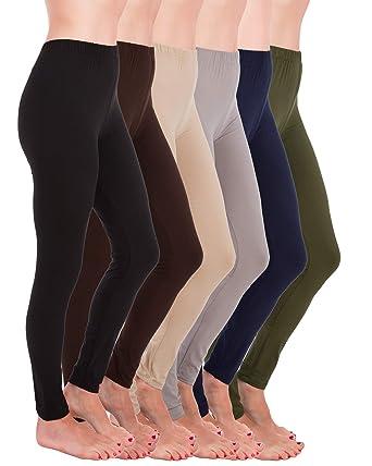 b57ba66e7e76 Homma Premium Ultra Soft High Rise Waist Full Length Regular and Plus Size  Variety Pack Leggings