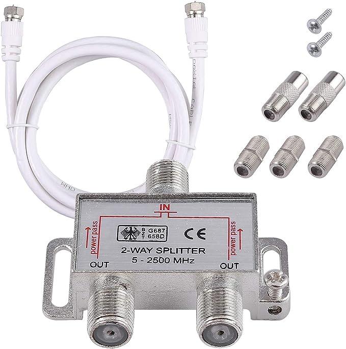 Neoteck 2 Vías Splitter TV Combinador de Cable Kit de ...