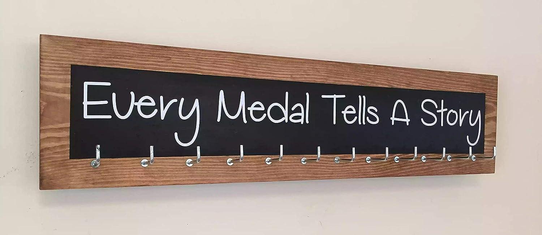 Running / Sports Medal display hanger. 12 hook. Black Colour splash. Every Medal Tells A Story