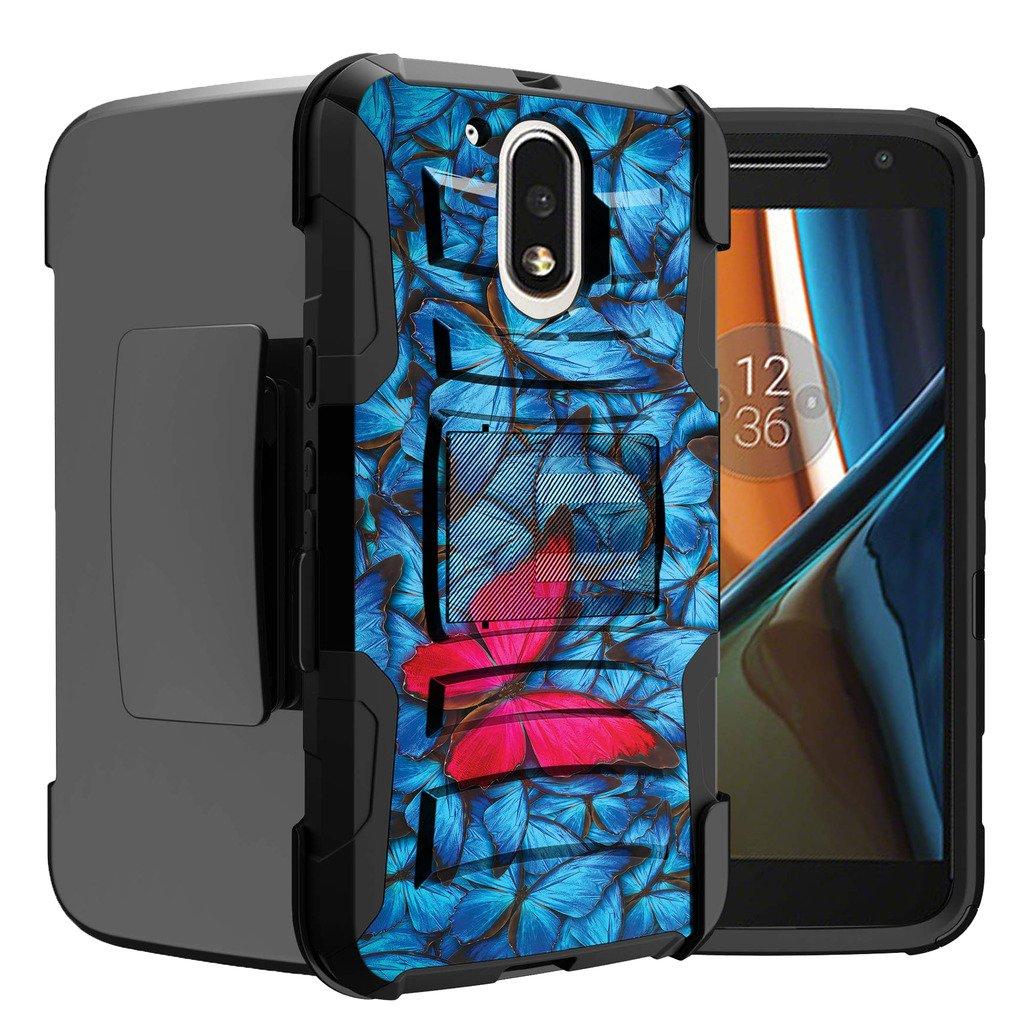 Untouchble Case for Moto G4| Moto G4 Plus Case | Motorola Moto G (4th Gen) Butterfly Case [Heavy Duty Clip]- Shockproof Swivel Holster Case with Built in Kickstand - Blue Pink Butterfly