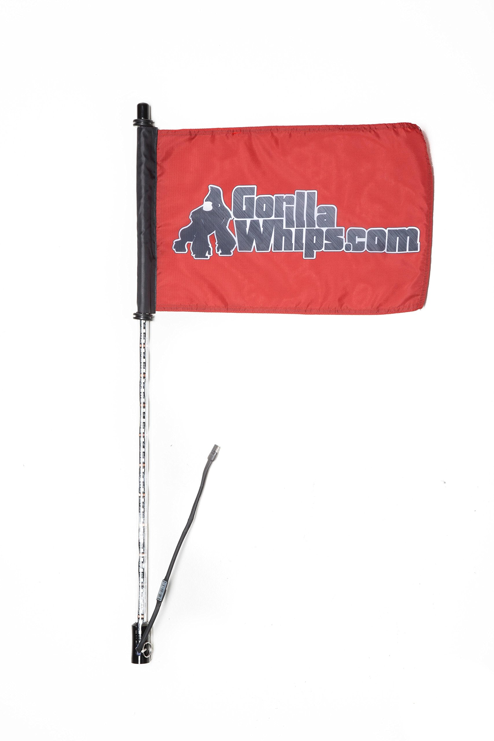 Gorilla Whips - 20 color 3' LED XTREME WHIP with red Safety Flag for atv, buggy, dunes, utv