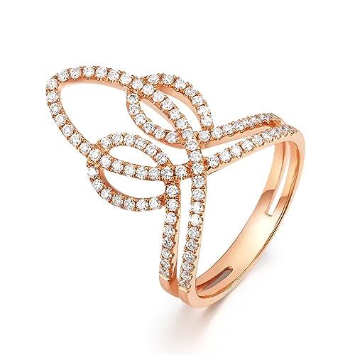 AmDxD Joyería 18k Oro Anillo de Boda para Mujer Hueco Cruzar Óvalo Redondo Diamante Oro Rosa