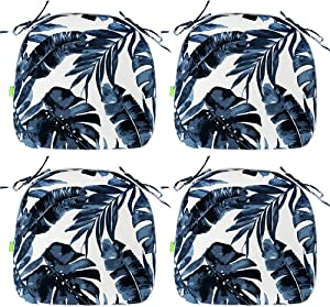 LVTXIII Indoor/Outdoor Chair Cushions Seat Cushions with Ties, Patio Chair Pads 16x17 Inch for Patio Furniture Garden Home Office Decoration Set of 4, Palm Blue