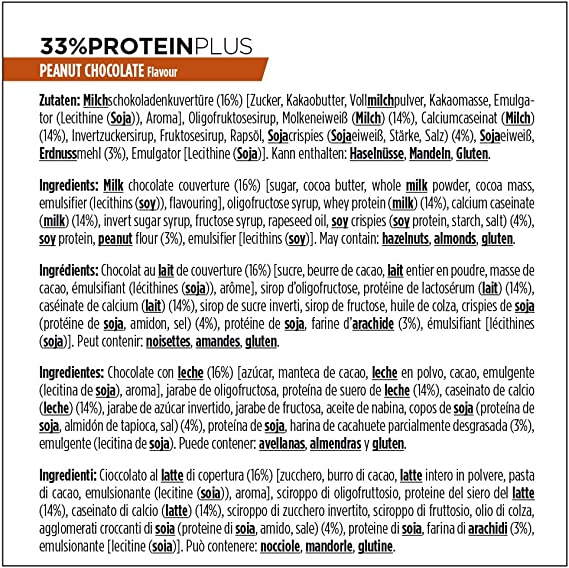 PowerBar Protein Plus 33% Peanut-Chocolate 10x90g - Barra de alta Proteína + Suero y Proteína de Caseína