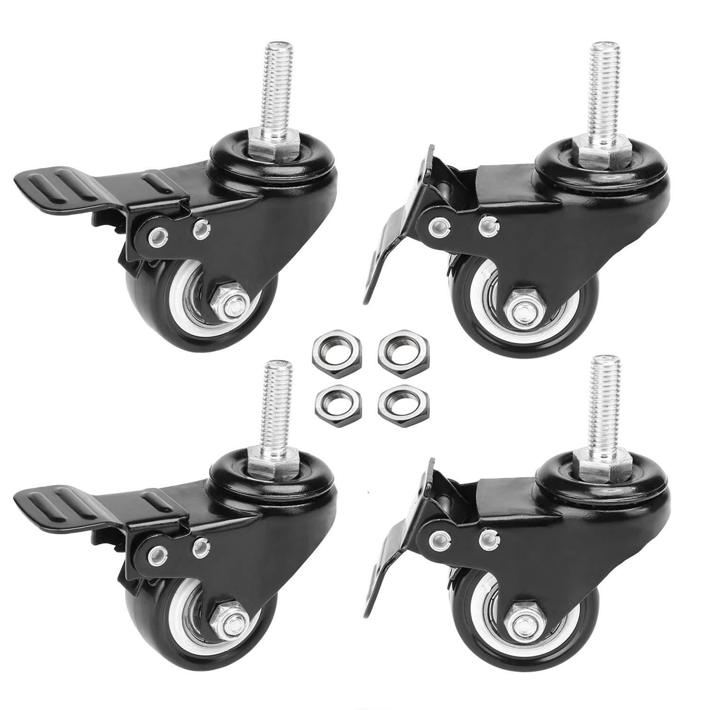 AAGUT 4pcs 2'' Swivel Stem Casters with Brake Lock, M8x25mm Stem Caster Wheel, Heavy Duty PU Rubber Wheels, Nuts Included, OeCaster50_825