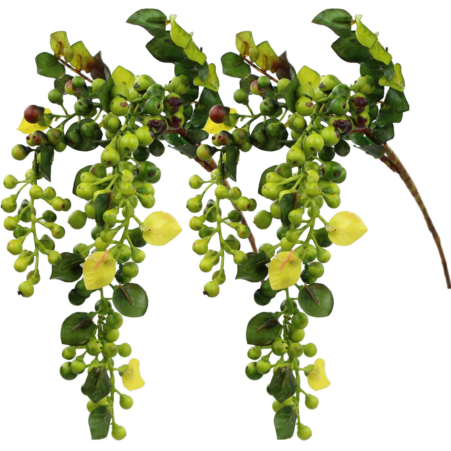 Rinlong Artificial Berries Hanging Spray Frosted for Flowers Arrangement Home Hotel Decor 2pcs per Pack (Green)