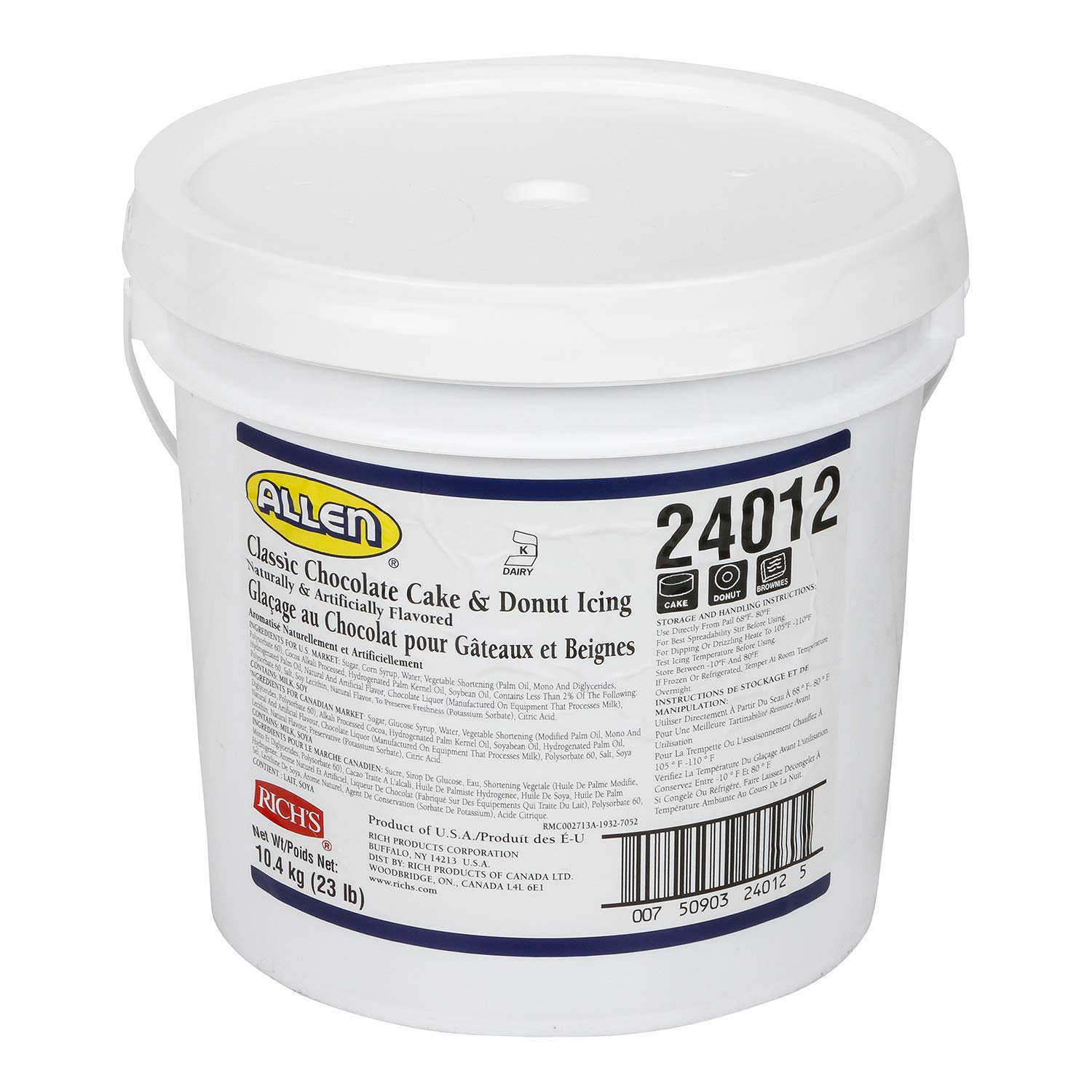 Rich's JW Allen Classic Chocolate Cake & Donut Icing, 23 lb Pail