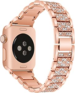 VOMA Bling Bands Compatible For Apple Watch Band 42mm 44mm iWatch Series 5/4/3/2/1, Diamond Rhinestone Stainless Steel Metal Jewelry Bracelet Bangle Wristband Strap(Diamond Rose Gold 42mm 44mm)