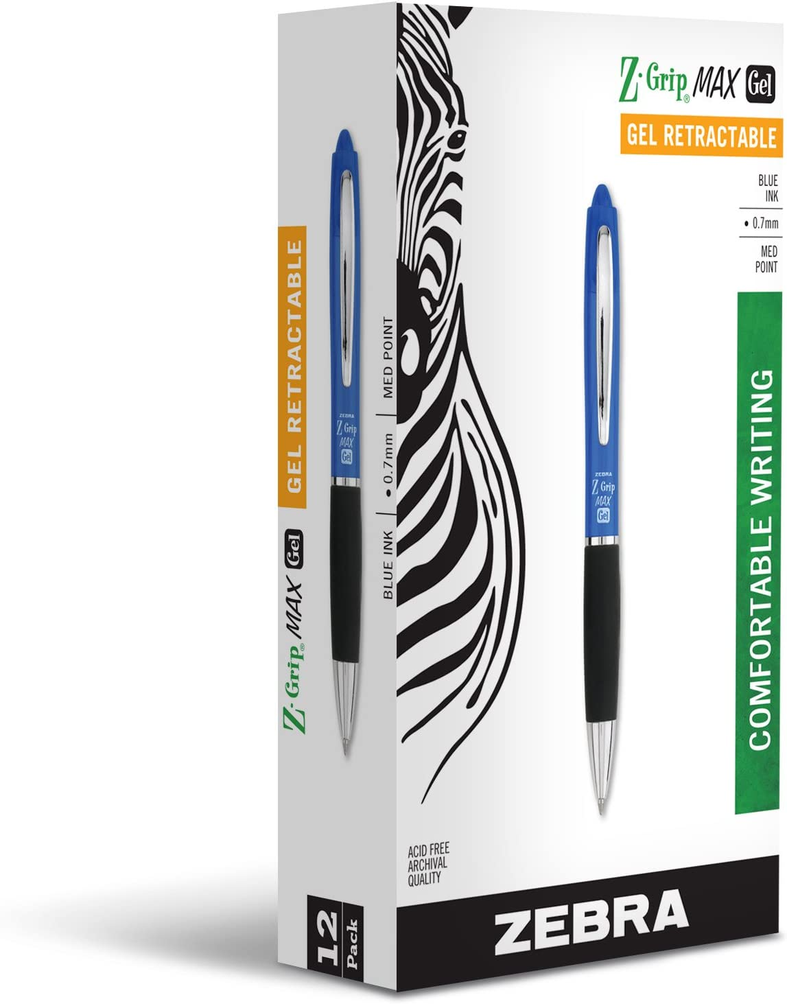 Zebra Z-Grip MAX Gel Retractable Ballpoint Rollerball Pen, Medium Point, 0.7mm, Blue, 12-Count