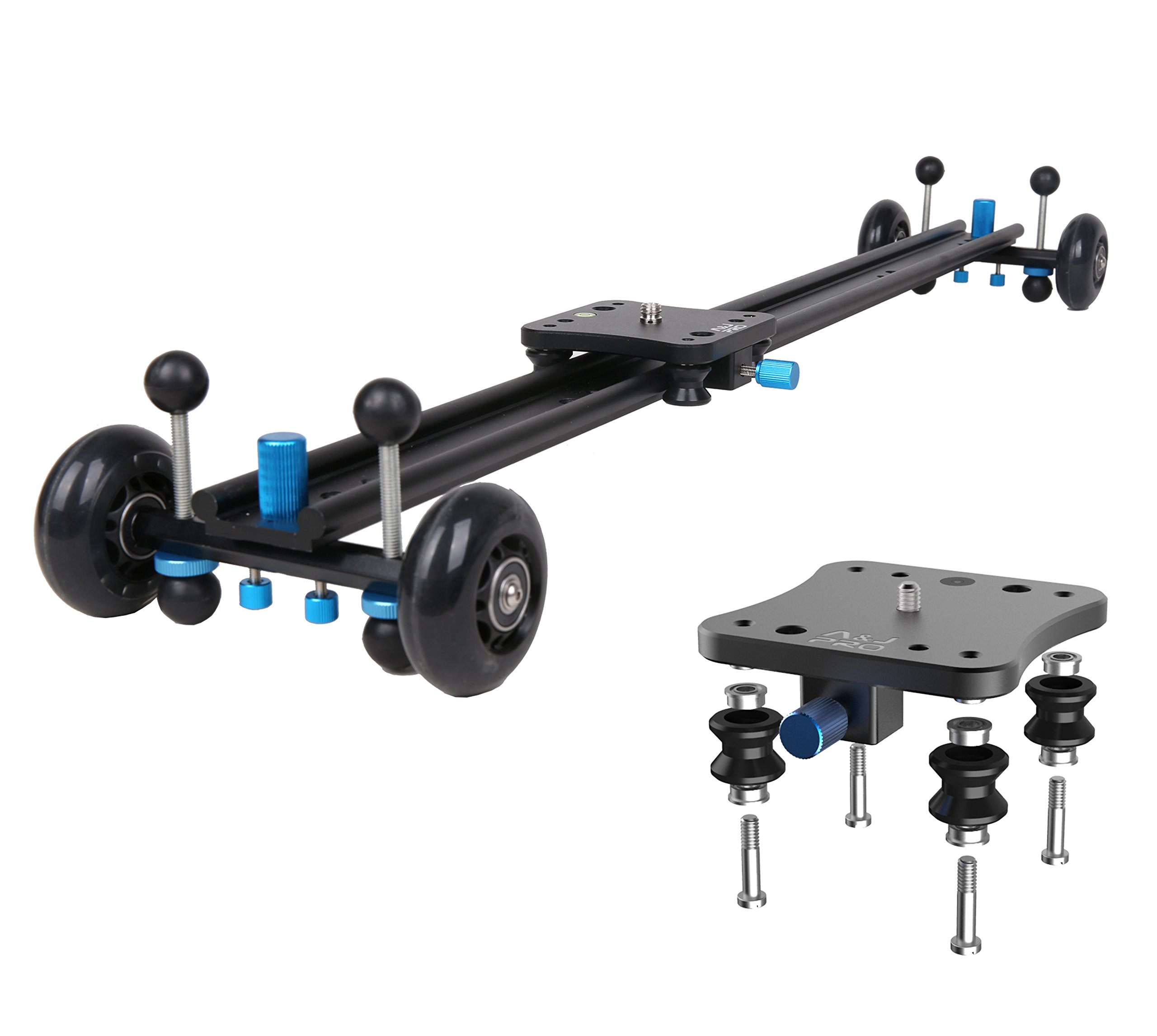 A&J ANJMVSL80 Camera Slider with Aluminum Alloy 4 Wheels Video Rail Track Slider Dolly Stabilizer for Canon Nikon Sony DSLR camera, 31.5'', Black