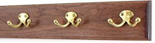 """product image for PegandRail Cherry Coat Rack with Solid Brass Double Style Hooks (Mahogany, 15"""" x 3.5"""" with 3 Hooks)"""