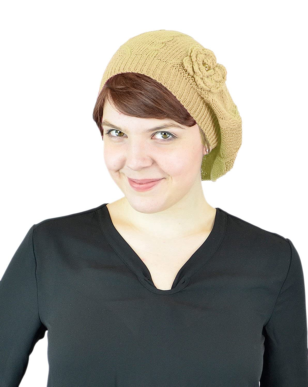 Belle Donne -Women's Without Flower Accented Stretch French Beret Hat OPT-HAT-H8002-Black