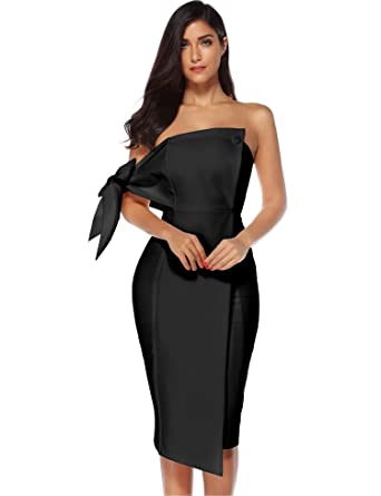 1d3c88198b4c17 Meilun Women s One Shoulder Party Dress Club Bodycon Strapless Dress ...