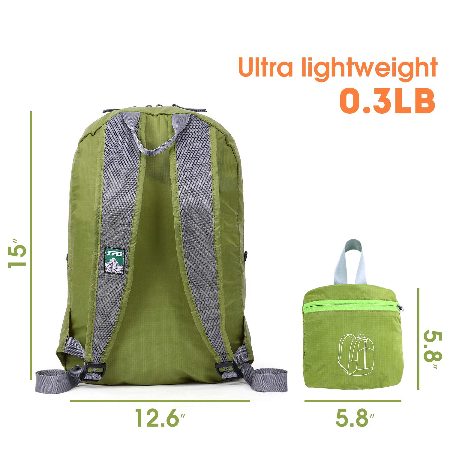 TFO Hiking Daypack Foldable Lightweight Water Resistant Backpack for Weekend Trips Camping