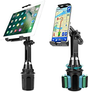 LUXMO Cup Holder Phone Mount & Tablet Holder for Car, 2-in-1 Car Cradle w/Adjustable Neck Extended Holder for Cell Phone iPhone, Samsung, Google & iPad Air/Mini. Premium quality built! Durable & Tough