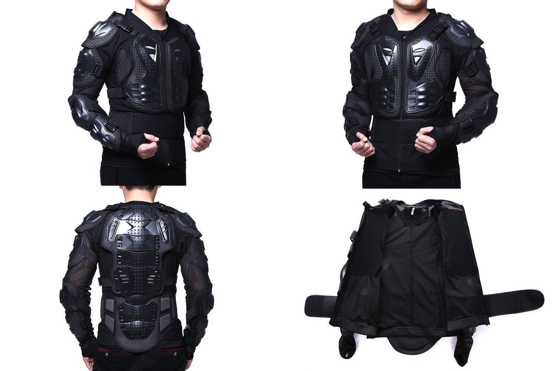 Anweer Motorcycle Protective Jacket Motorcycle Full Body Armor Protector Pro Street Motocross ATV Guard Shirt Jacket for Men (Black, XXXL)