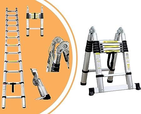 Leogreen - Escalera Multiusos, Escalera Telescópica, 3,8 Metro(s), Barra estabilizadora, EN 131, Estándar/Certificación: EN131, Número de peldaños: 12: Amazon.es: Hogar