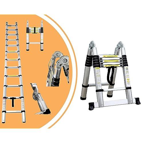 Leogreen - Échelle Multifonction, Échelle Telescopique, 3,8 mètre(s), Barre stabilisatrice, EN 131, Standards/Certifications: EN131, Nombre de barreaux: 12