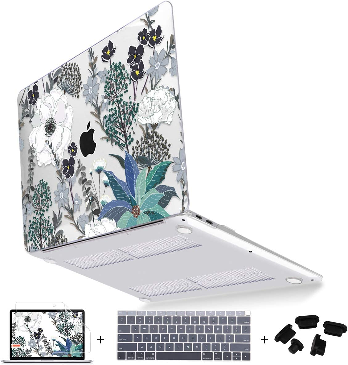 Mektron for Newest MacBook Air 13 Inch Case 2020 2019 2018 A1932 A2179 with Retina Display fits Touch ID 4 in 1 Bundle,Plastic Hard Shell,Keyboard Cover,Screen Protector & Dust Plug Set, Retro Florals