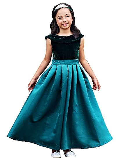 52cb4a08a42 Just Couture Big Girls Emerald Green Satin Velvet Amelia Christmas Dress 7