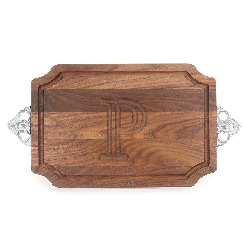 Walnut Wood Serving Tray with Handle,Z Z Personalized Cutting Board BigWood Boards W310-SC-Z Cutting Board with Handle Large Cheese Board