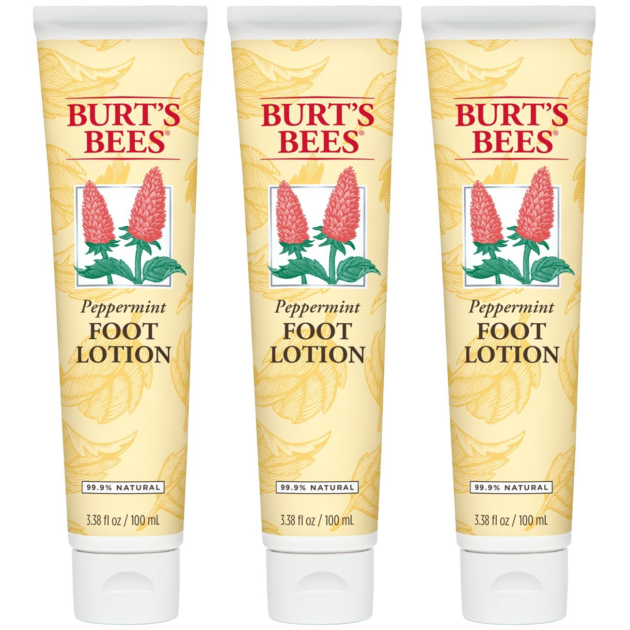 Burt's Bees Peppermint Foot Lotion - 3.38 Ounce Tube (Pack of 3) Burt' s Bees