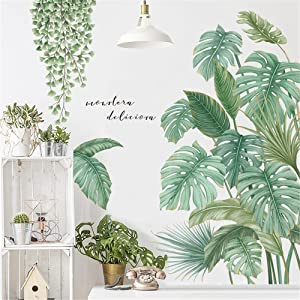 Supzone Green Plants Wall Stickers Tropical Leaves Wall Decals Hanging Tree Vine Wall Decal Nature Plants Palm Leaf Wall Sticker Wall Art Mural for Bedroom Living Room Background Office Home Décor