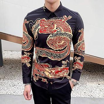 MKDLJY Camisas Camisa de Hombre de Manga Larga para Hombre Estilo Chino Estampado de dragón Casual Slim Fit Camisa Vintage Club Nocturno Camisas de Esmoquin Hombre Social: Amazon.es: Deportes y aire libre