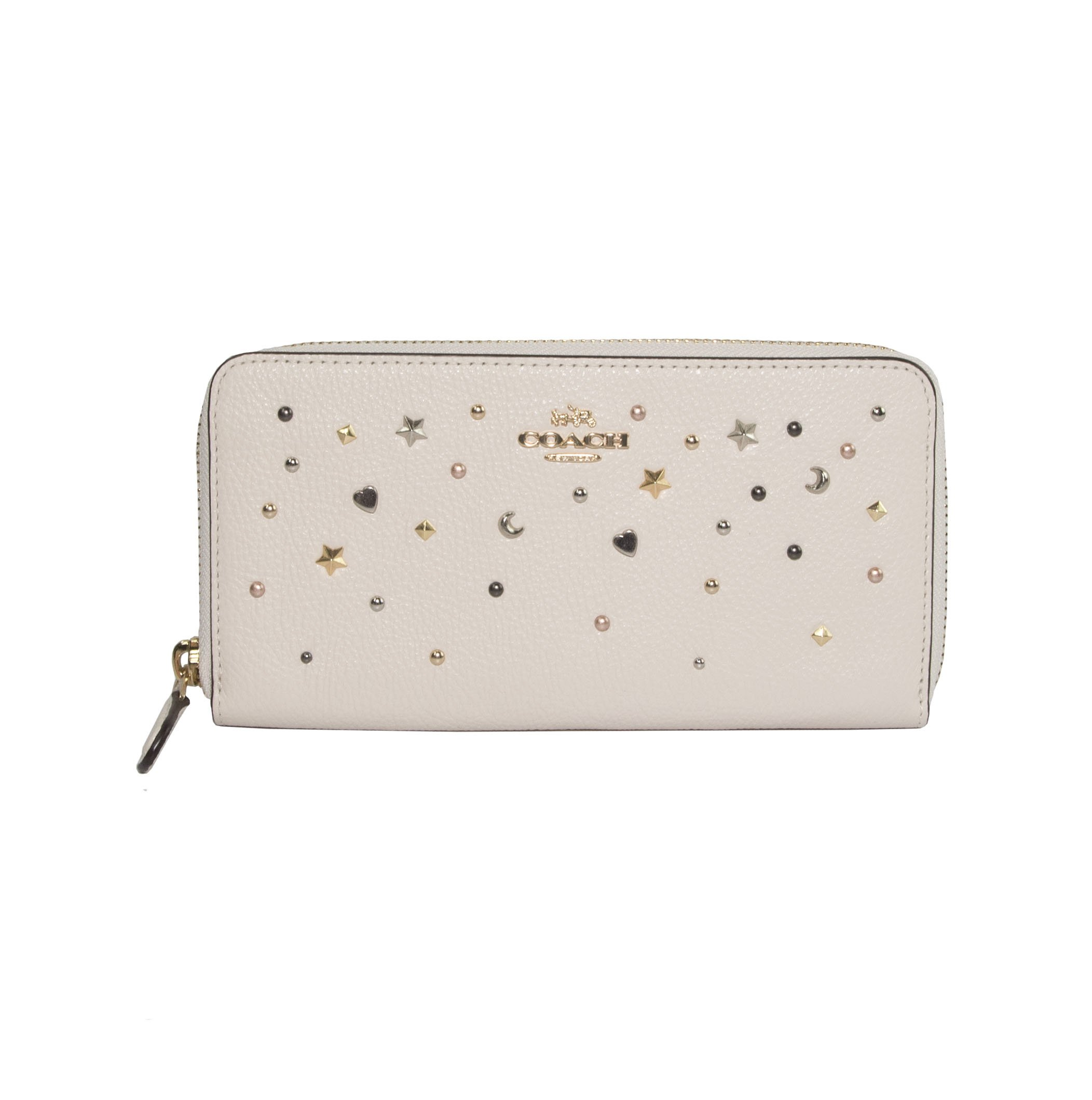 Coach Stardust Star Studded Chalk Pebbled Leather Zip Around Continental Wallet 22700